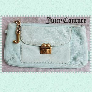 Juicy Couture Turquoise Leather Heart Pouch Bag